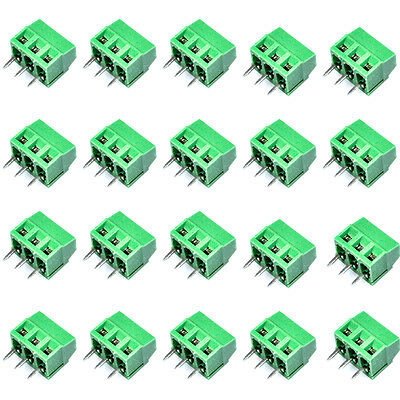 20Pc 6389 DIY 3-Pin Cable Wire Terminal Connectors Rated Voltage 300V 16A Green