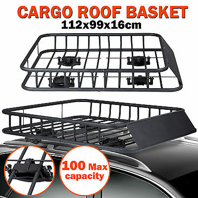 Steel Roof Rack Basket Universal 4WD Car Top Powder Coated Cargo Luggage Carrier