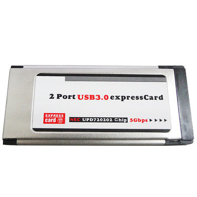 LT402 USB 3.0 Super Speed PCMCIA Express Card 34MM 2 Ports 5 Gbps Silver New