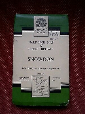 1961 OS Ordnance Survey cloth map Snowdon North Wales 28 half 1/2 inch Anglesey