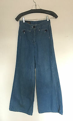 Vintage 70's Denim Jeans Bells Bellbottoms by FOXMOOR Hippie Sailor Rock Sz 22w