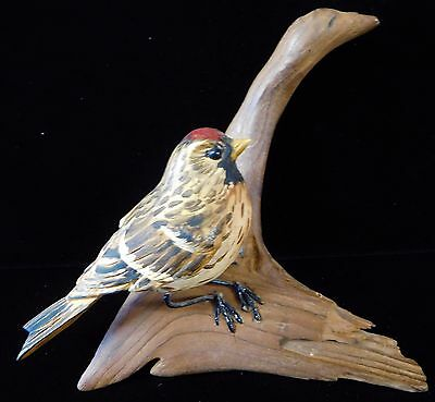 Vintage 1946-71 Hand Carved Basswood Red Head Song Sparrow by OLIVE GEORGE (OG6)
