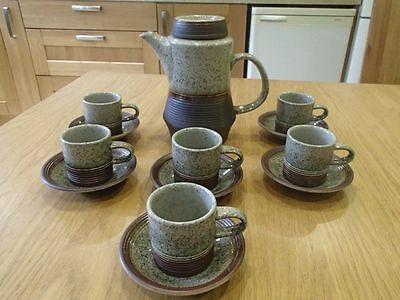 Vintage Retro Purbeck Pottery Stoneware Portland Coffee Set - cups saucers pot
