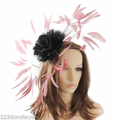 Black & Dusky Pink Fascinator Hat for Weddings/Ascot/Proms With Headband M1