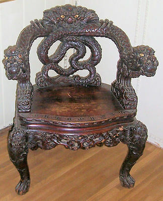 CHINESE QING DYNASTY (?) Carved DRAGON CHAIR