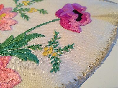 Vintage  hand  embroidered Country Flowers linen  table cloth