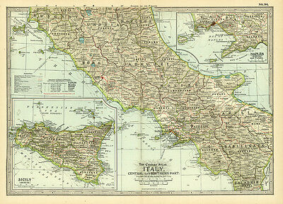 Century 1899 Southern Italy Naples Sicily Original Antqiue Color Map