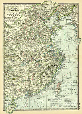 1899 Century Eastern Part China Original Antique Color Map