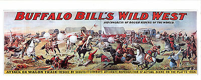 Vintage Buffalo Bill Wild West Congress Rough Riders Attack on Wagon Poster