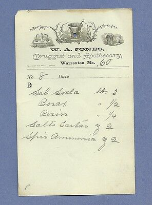 1869 WA Jones Druggist Apothecary Warrenton Missouri Prescription Receipt No 8
