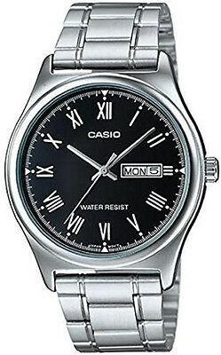 Casio Men's Stainless Steel Day Date Black Dial Watch MTP-V006D-1BUDF