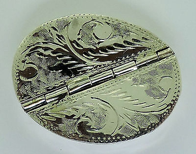 Sterling Silver Oval Pill Box 2 Compartment Opening Rare