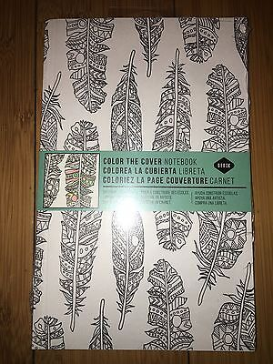 """DENIK Color The Cover Feather Journal Notebook 5.25x8.25"""" Adult Coloring"""
