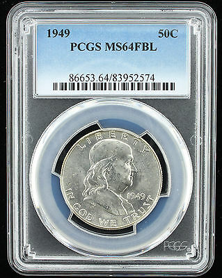 1949 Franklin Half Dollar 50C Pcgs Certified Ms 65 Fbl White Unc (574)
