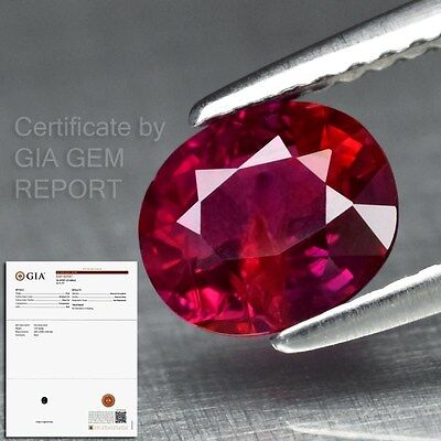 Rare! 1.27ct 7x6mm Oval Natural Unheated Red Ruby *Full Report GIA Certified
