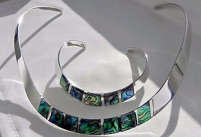 Super! 49g sterling silver 925 abalone paua choker collar necklace bracelet set