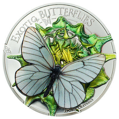 2017 Mongolia Exotic Butterflies in 3D Aporia Cartaegi Proof Silver OGP SKU46742