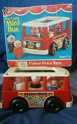 Vintage Fisher Price Mini bus with box 1970s retro toy