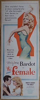 THE FEMALE (1959) - original US insert movie poster, Brigitte Bardot, romance