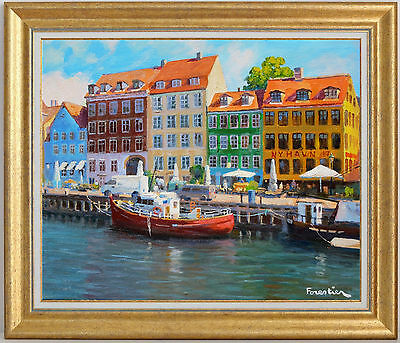 Nyhavn, Copenhagen~Listed Artist~Original Oil Painting By Marc Forestier