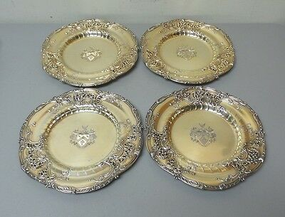 "Set/4 Dominick & Haff Sterling Silver 10"" Gilt & Reticulated Service Plates"