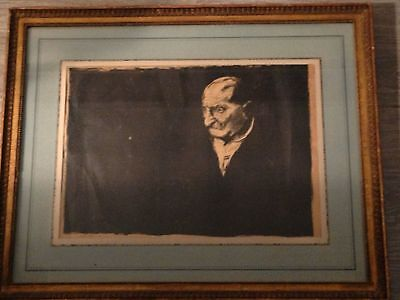 DRAWING LITHOGRAPH OLD MAN Figures SIGNED BY DAVID  LEVINE 1926-2009