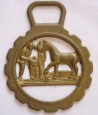 Vintage Horse Tack Harness Brass Bridle Ornament~Stableman Feeding Horse