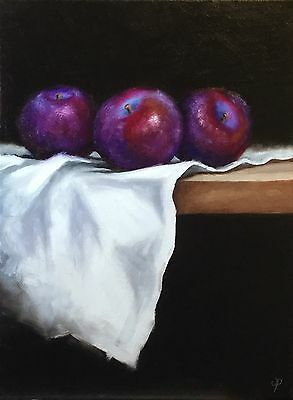 Plums On Cloth J Palmer original oil painting on canvas