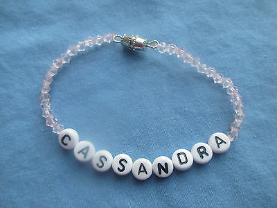 "PERSONALIZED 6 1/4""  BEADED NAME BRACELET WITH THE NAME Cassandra-NEW"