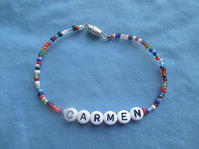 "PERSONALIZED 7 1/4""  BEADED NAME BRACELET WITH THE NAME Carmen-NEW"