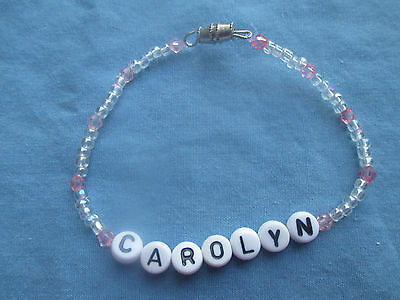 "PERSONALIZED 7""  BEADED NAME BRACELET WITH THE NAME Carolyn-NEW-clear/pink"