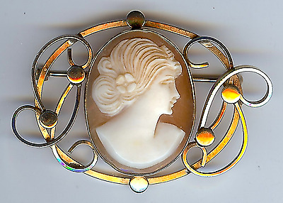 *lovely Antique Gold Fill Carved Cameo Pin*