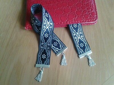 """Stylish black & silver embroidered ribbon bookmark """"Handmade by Helen"""""""