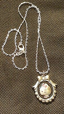 OLD /Rare HELLO KITTY SANRIO Enamel Pendant  925 STERLING SILVER Necklace 18""