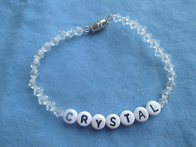 "PERSONALIZED 6 1/2""  BEADED NAME BRACELET WITH THE NAME Crystal-NEW-clear"