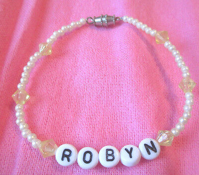 "Personalized 7""  Beaded Name Bracelet With The Name-Robyn-New-Hand Made"