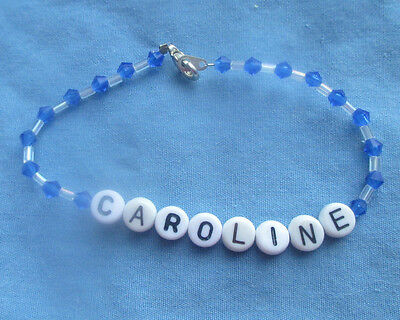 "PERSONALIZED 6 1/2""  BEADED NAME BRACELET WITH THE NAME Caroline-NEW-blue"