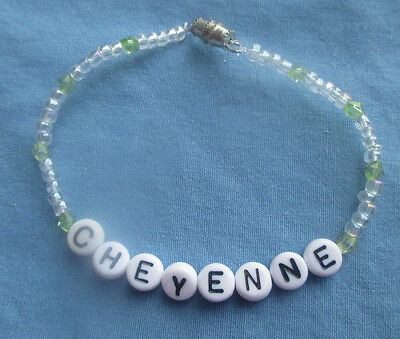 "PERSONALIZED 7""  BEADED NAME BRACELET WITH THE NAME Cheyenne-NEW"