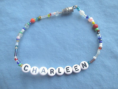 "PERSONALIZED 7 1/2""  BEADED NAME BRACELET WITH THE NAME Charleen-NEW"