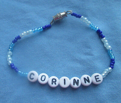 "PERSONALIZED 6 1/4""  BEADED NAME BRACELET WITH THE NAME Corinne-NEW"