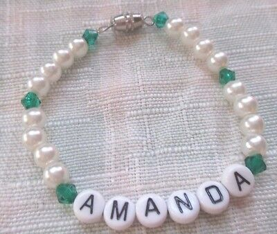 "Personalized 6""  Beaded Name Bracelet With The Name Amanda-Green/pearl"