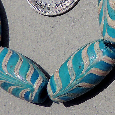 10 old antique venetian blue feather fancy beads african trade #1398