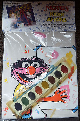 """1989 Jim Henson's Muppets """"ANIMAL"""" KIDDY APRON~With Paints and Brush~NIP"""