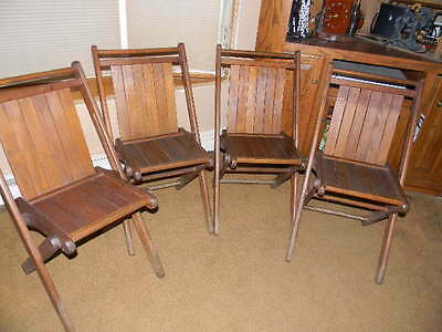 Vintage Peerless Tucker - Tuck-er-way Wooden Folding Chairs - set of 4