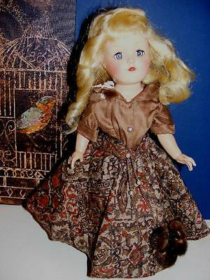 """FAB Vtg 1950 IDEAL 14"""" TONI DOLL BLONDE in POODLE CIRCLE SKIRT Outfit w Mink PIN"""