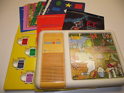Vintage 1981 Texas Instruments Touch and Tell With 4 Cartridges And 14 Sheets