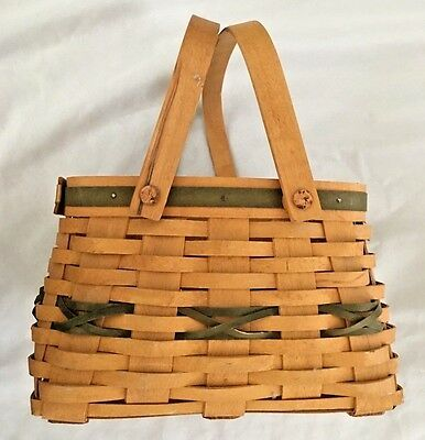 "Honey Brown 6X9X9"" Longaberger Basket with Two Moving Handles"