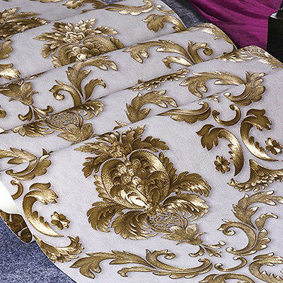 Metallic Gold Textured Damask Wallpaper Luxury Home Room Wall Paper Rolls