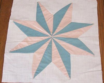 Dimensional Star! c 1930s Vintage QUILT block   12 x 11 3/4 peach green
