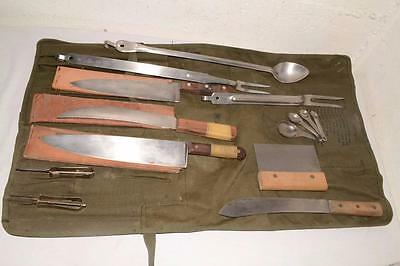 50s 60s Vtg U.S.ARMY Canvas CUTLERY ROLL Food Preparation COOK SET Knife Lot